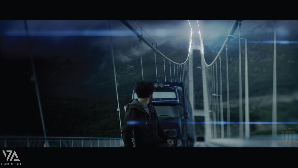 Final Compositing shot form Mortal Movie with thunder on the bridge