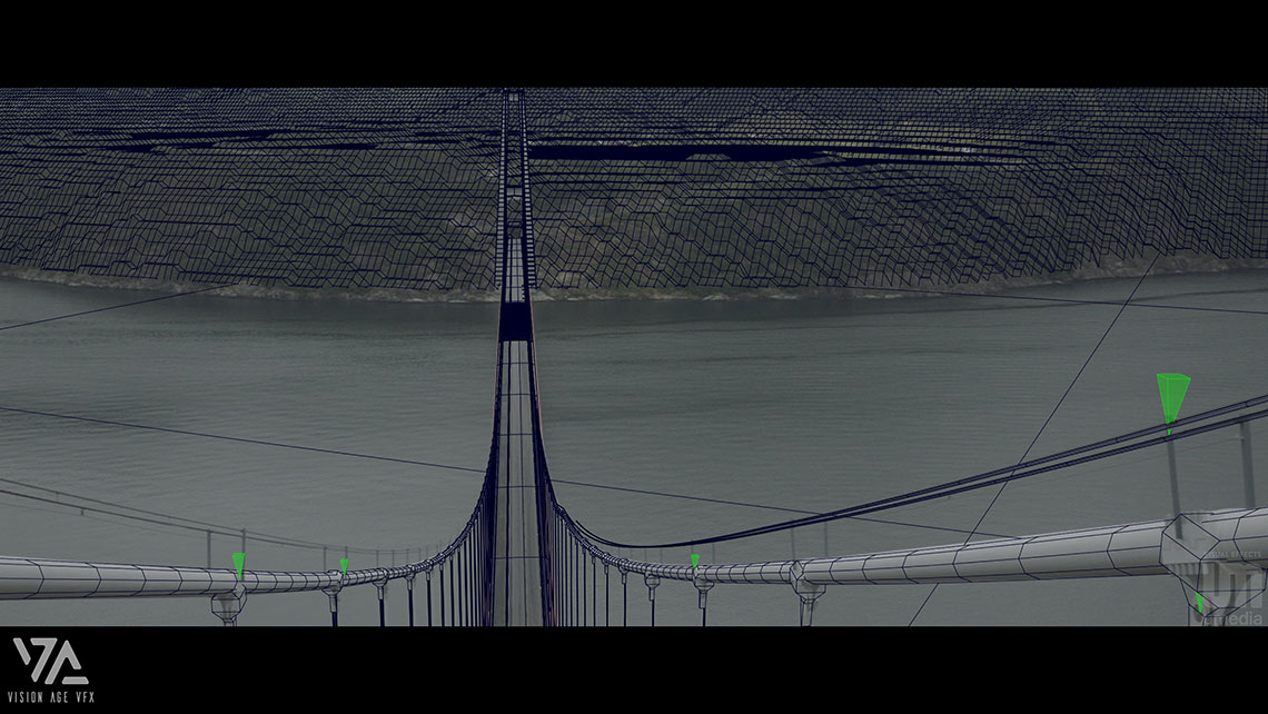 Wireframe shot from Mortal Movie during camera tracking process